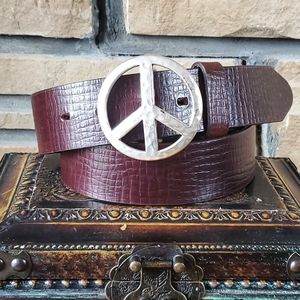 🥀BRIGHTON Honest Peace Sign Brown Boho Belt NWOT